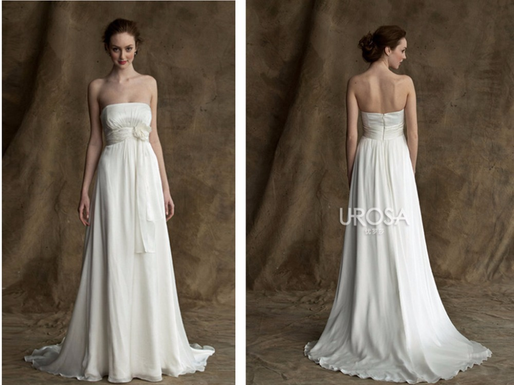 Robe De Mariee Sexy A-Line Long Wedding White Chiffon Flower Cheap Covered Bodice Simple Vintage Bridal Gowns Bridesmaid Dresses