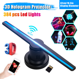 3D WiFi Hologram Projector Air Fan 42cm/16.5in Holographic Advertising Display Machine Player Remote Control 16GB TF Card