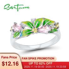 Женское серебряное кольцо SANTUZZA, из серебра 925 пробы с зелеными листьями из эмали и кубическим цирконием, модные ювелирные украшения ручной работы