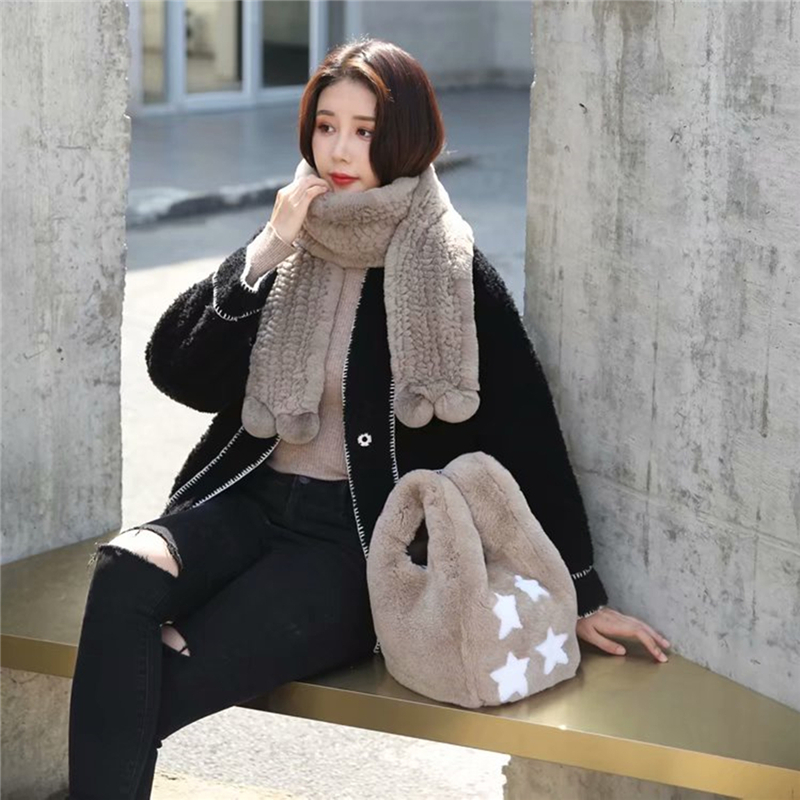 IANLAN Womens Real Fur Tote Bags / Wristlets Bags Ladies Full-pelt Rex Rabbit Fur Handbags Casual Shopping Bags IL00554
