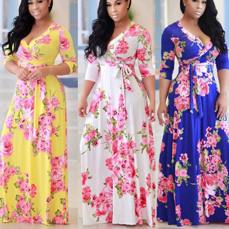Fashion ladies dress V-neck print plus size dress elegant sexy beach vacation party performance long female clothing new image