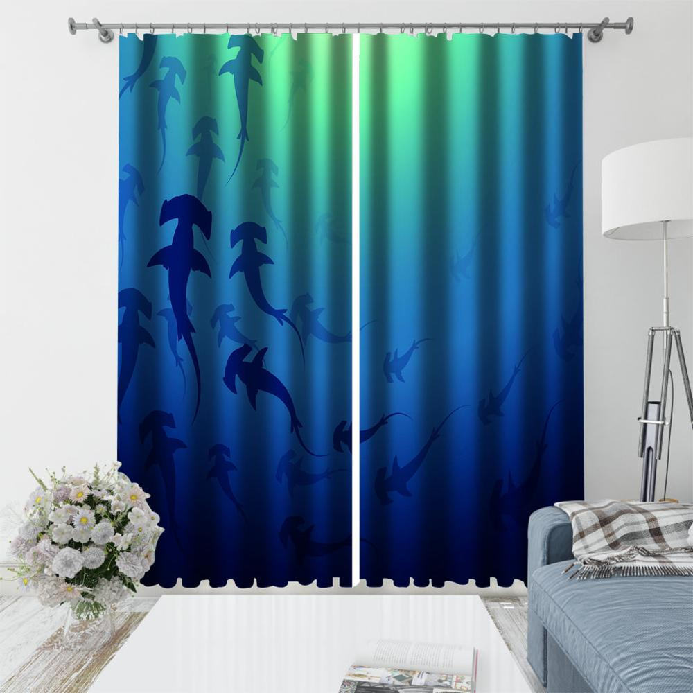 Custom Curtain Blackout underwater World Printing Kids Room Curtain Children Window Curtain Design Thick Blackout Drapes