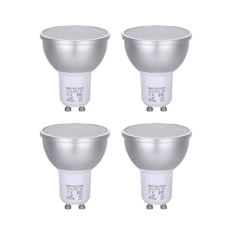Ac85 265V 4Pack 6W Rgbw Wifi Connected Intelligent Light Bulb Gu10 Base Socket Holder For Android/ Ios System Scenes Setting For