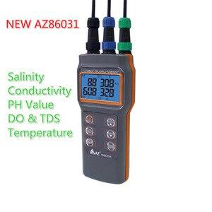 Atualizado digital medidor de qualidade da água dissolvido oxigênio tester medidor de ph condutividade salinidade temperatura saltiness medidor az86031