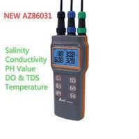 Upgraded Digital Water Quality Meter Dissolved Oxygen Tester PH Meter Conductivity Salinity Temperature Saltiness Meter AZ86031