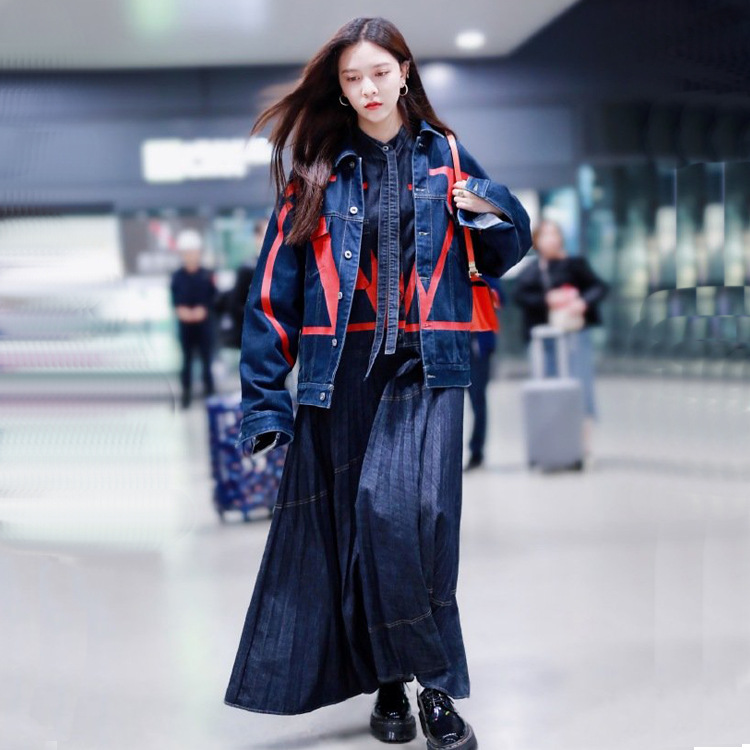 Autumn And Winter Model What Spike Star Song Yan Fei Guo Biting Celebrity Style Printed Cowboy Dress WOMEN'S Suit