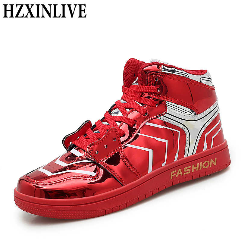 Botas de tobillo HZXINLIVE mujeres zapatillas de cuero Bling Mujer antideslizante Sexy Botas rojas hombre armadura Zapatillas Zapatos Botas Mujer invierno