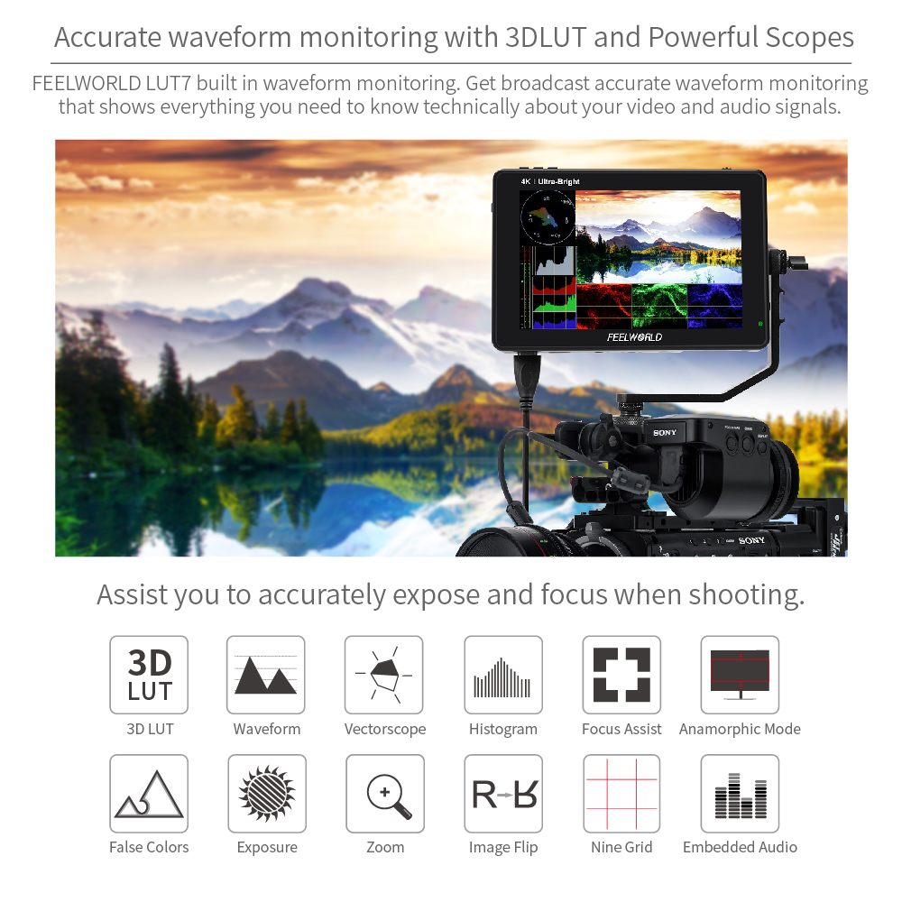 cheapest FEELWORLD S55 5 5 inch DSLR Camera Monitor 4K HDMI LCD IPS HD 1280x720 Display Field Monitor 8 4V DC Output for Nikon Sony Canon