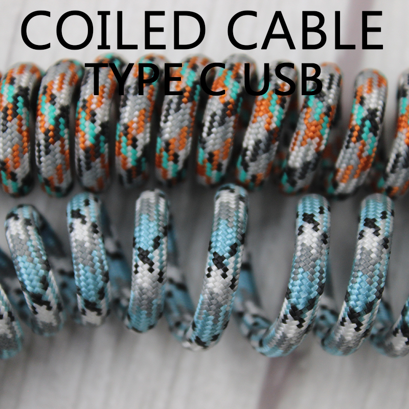 Nylon Usb C Port Coiled Cable Wire Mechanical Keyboard GH60 USB Cable Type C USB Port For Poker 2 GH60 Keyboard Kit