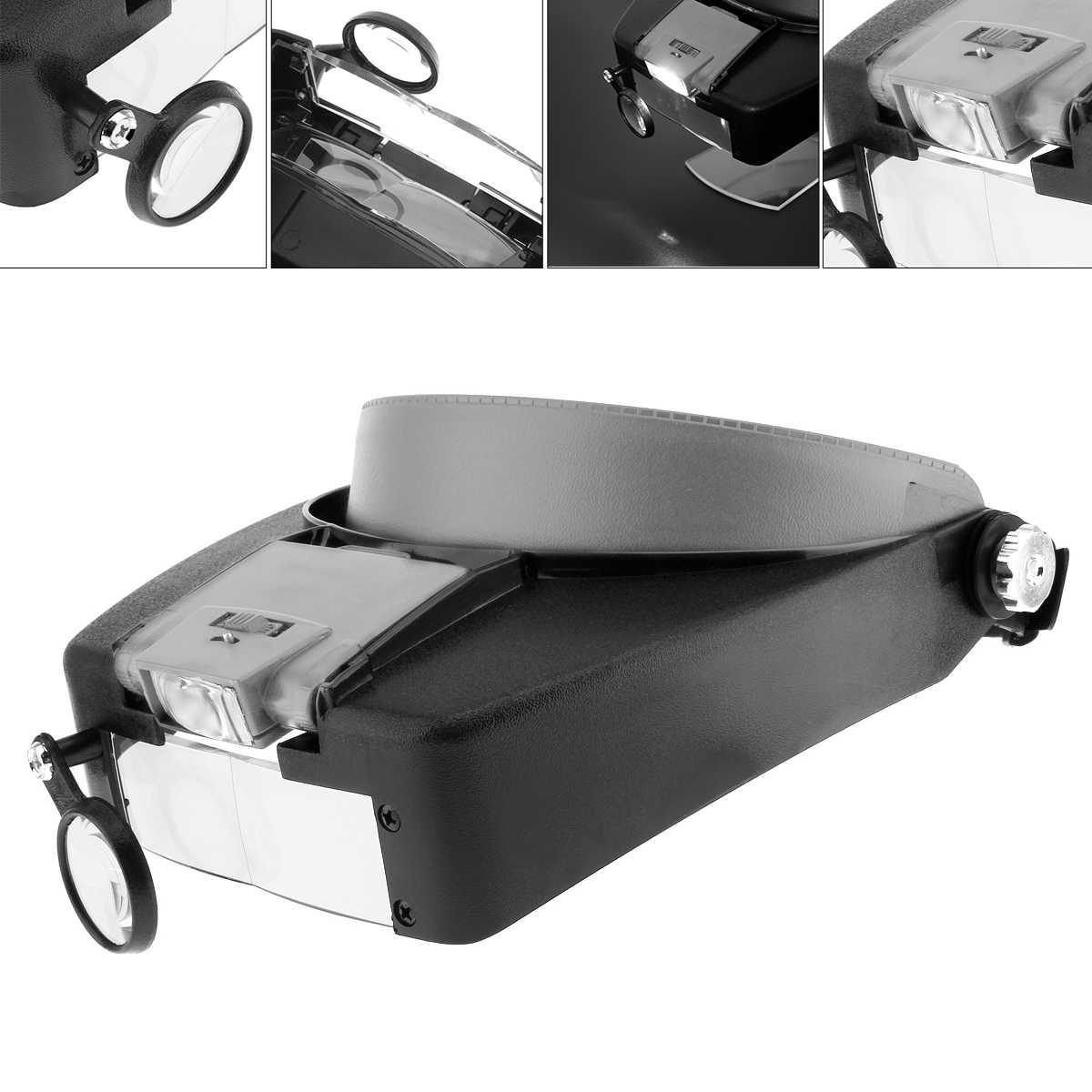שחור ואפור ABS בגימור 10X זכוכית מגדלת ראש זכוכית מגדלת עדשת זכוכית מגדלת עם LED אור 3 אופטי עדשה עבור תכשיט תיקון