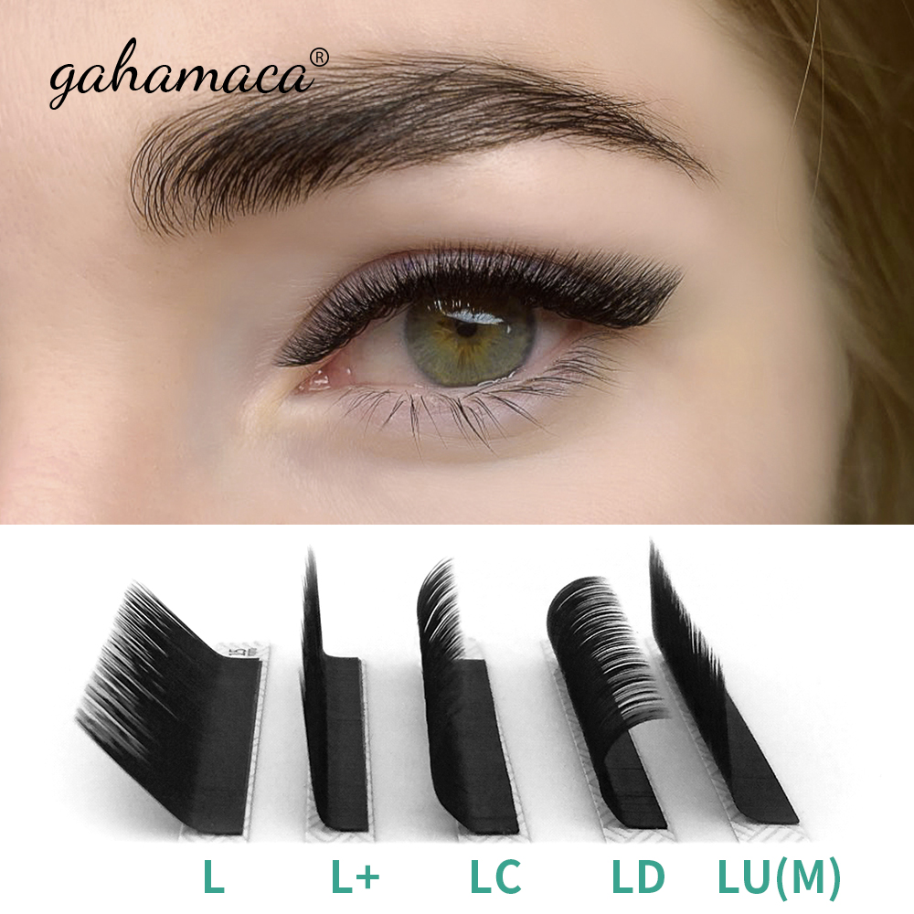 GAHAMACA Eyelash Extension 16rows/case 8~15mm L/L+/LC/LD/LU(M) Mix Premium Natural Individual Makeup Maquiagem Cilios