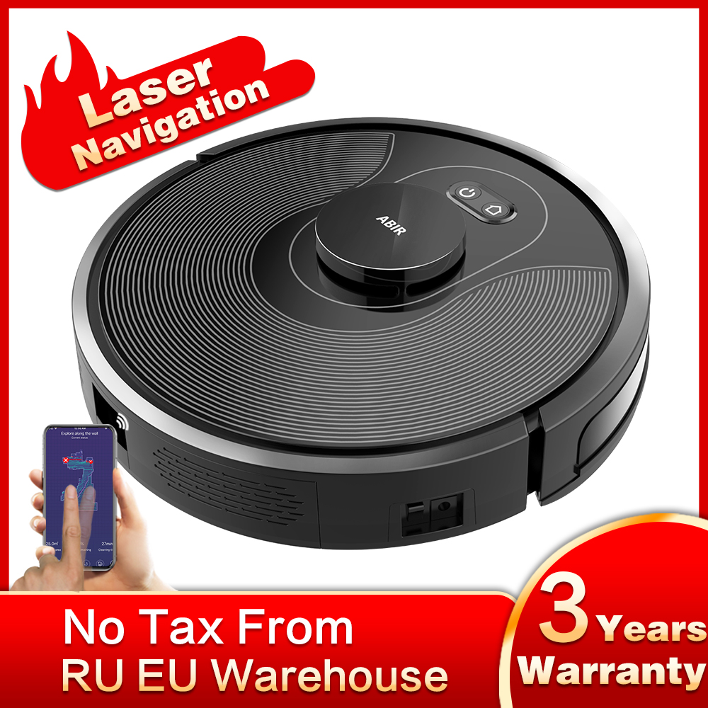ABIR X8 Robot Vacuum Cleaner,Laser Lidar Navigation,Hand Draw Cleaning Area ,Map Storage,Hand Draw Virtual Blocker,3200mAh Li-on