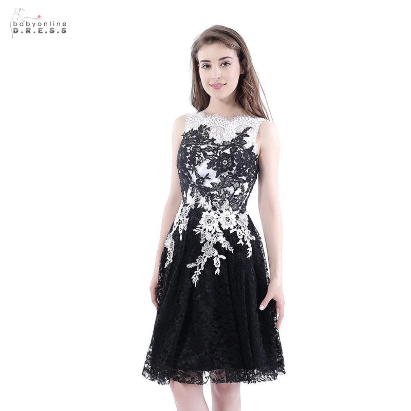 24 Hours Shipping Short Lace   Cocktail     Dresses   Black White A-line Mini Party   Dresses   Sleeveless Vestidos Coctel Robe de   Cocktail