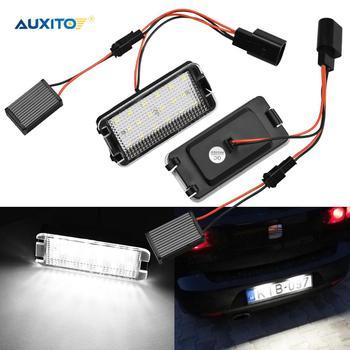 2pcs Error Free Car LED Number License Plate Lights For Seat Ibiza 6L ab Arosa Altea Cordoba MK1 MK2 Leon 1M Toledo 5P 2004-2009