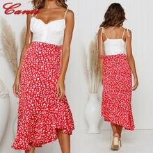 Goocheer Womens Red Leopard Long Maxi Skirt High Waist Wrap Dress Ladies Sexy Summer Casual skirts