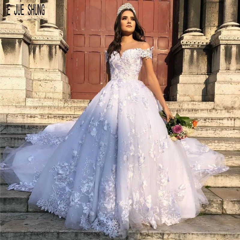 E JUE SHUNG Luxury Princess Wedding Dresses Off the Shoulder Lace Appliques Button Back Ball Gown Bridal Dresses robe de mariee