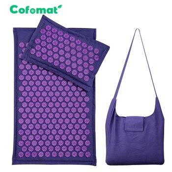 Acupressure Mat Nature Linen Coconut palm Yoga mat Lotus Spike Massage Pillow Cushion With Bag 1