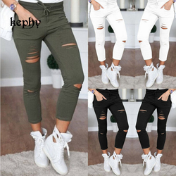 New 2020 Skinny Jeans Women Denim Pants Holes Destroyed Knee Pencil Pants Casual Trousers Black White Stretch Ripped Jeans