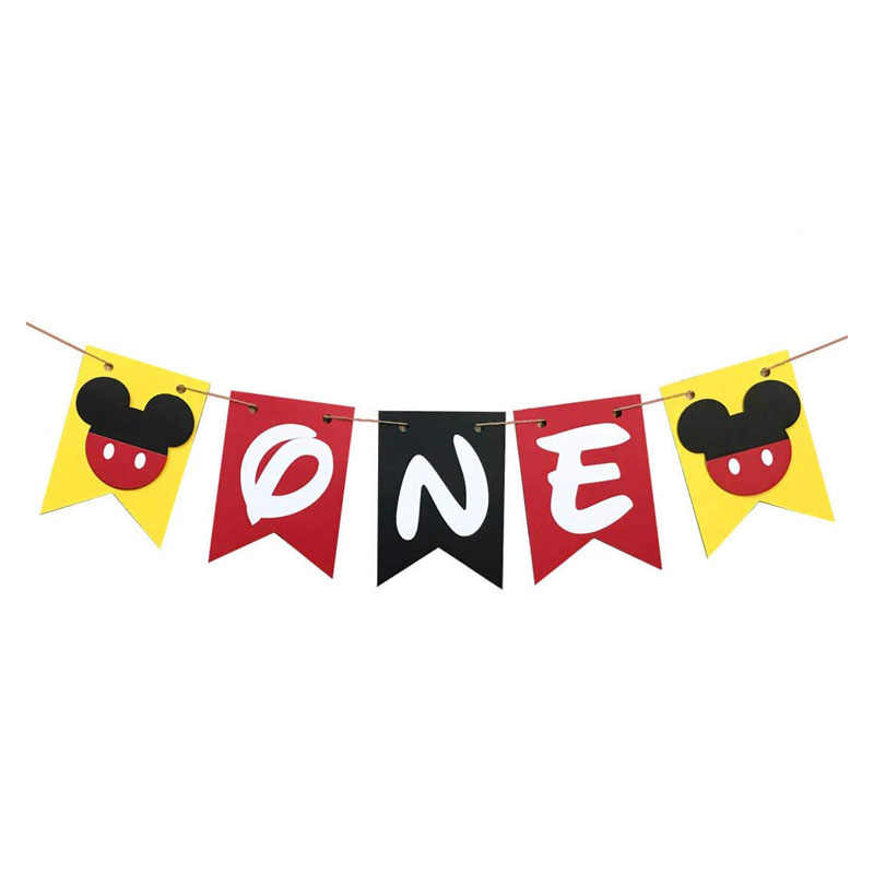 Mickey First Birthday Banner Handmade 1st Birthday Party Decoration High Chair Banner Mickey Baby Boy Party Supplies Aliexpress
