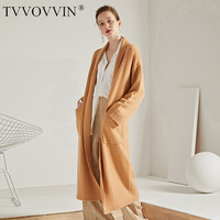 TVVOVVIN 2019 Autumn Hot Solid Color All match Goat Cashmere Long Fund Loose Coat Easy Cardigan Sweater Cardigan L273