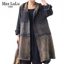 Max LuLu Autumn Fashion Clothes Ladies Punk Streetwear Womens Hooded Patchwork Denim Trench