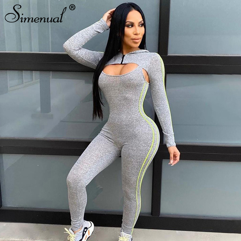 Simenual Fitness Workout Sportswear Patchwork Jumpsuits Long Sleeve Hooded Casual Hollow Out Side Stripe Rompers Womens Jumpsuit