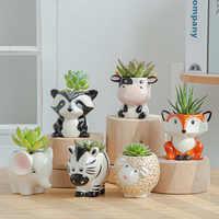 Maceta de cerámica de estilo nórdico para flores, Mini maceta con dibujos de cebra, oveja, vaca, plantas suculentas, macetas para bonsái, decoración del hogar