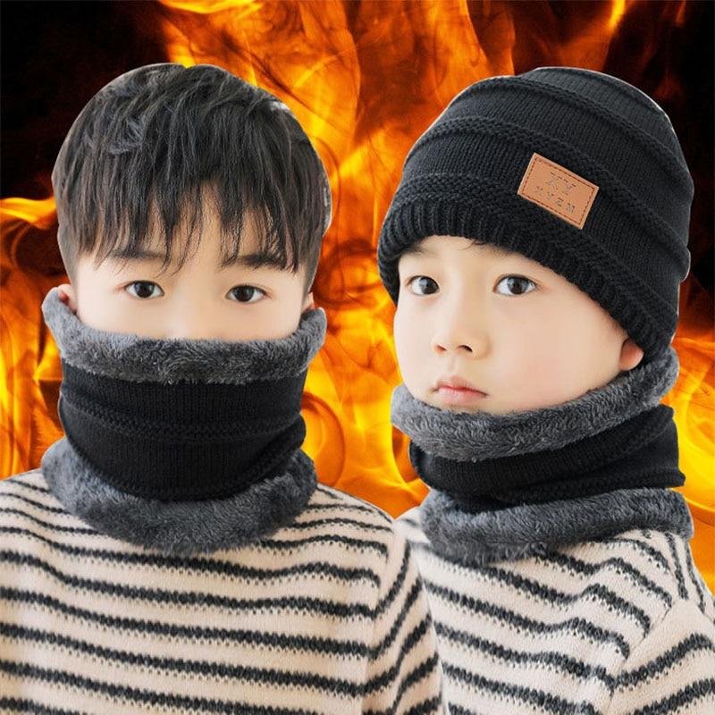 Q Korean Style Knitted Scarf Set Children's Hat 48-54CM Fashion Warm Ear Thicken Flanging  Winter Hat