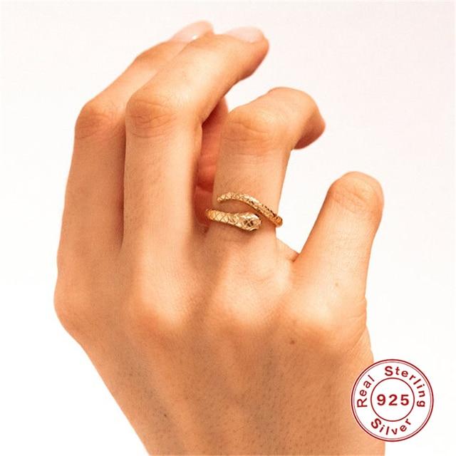 Inmaker 2020 925 Sterling Zilveren Ringen Voor Vrouwen Goud Zilver Snake Serpent Verstelbare Vinger Ring Sieraden Anillos Mujer