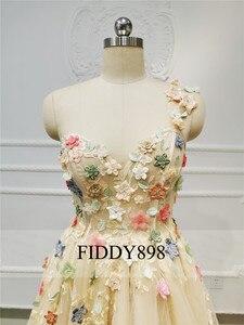 Image 4 - New 2019 Evening Dresses Long with Slit One Shoulder Beaded Flower Evening Gown Formal Party Dress Vestido de Fiesta de noche