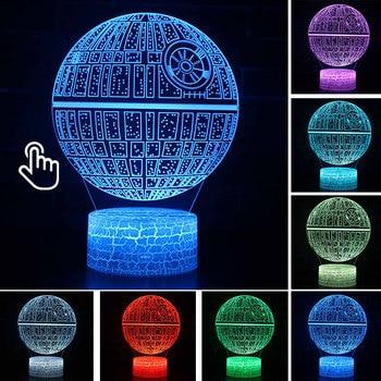 Star Wars Darth Vader Anime Figure Acrylic 3D Illusion LED Lamp Colourful NightLight Death Star Mask Yoda Model Toys Child Gift 7