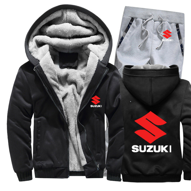 Hoodies Men Suzuki Car Logo Mens Hoodies Suit Winter Thicken Warm Fleece Cotton Zipper Tracksuit Mens Jacket+Pants 2Pcs Sets