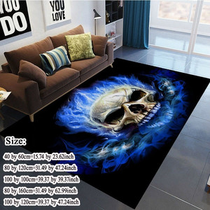 Modern 3D Large Area Rugs Flame Skull Gothic Rectangular Carpets blue flame Anti slip Decorative Floor Mat for Home Room 5Size