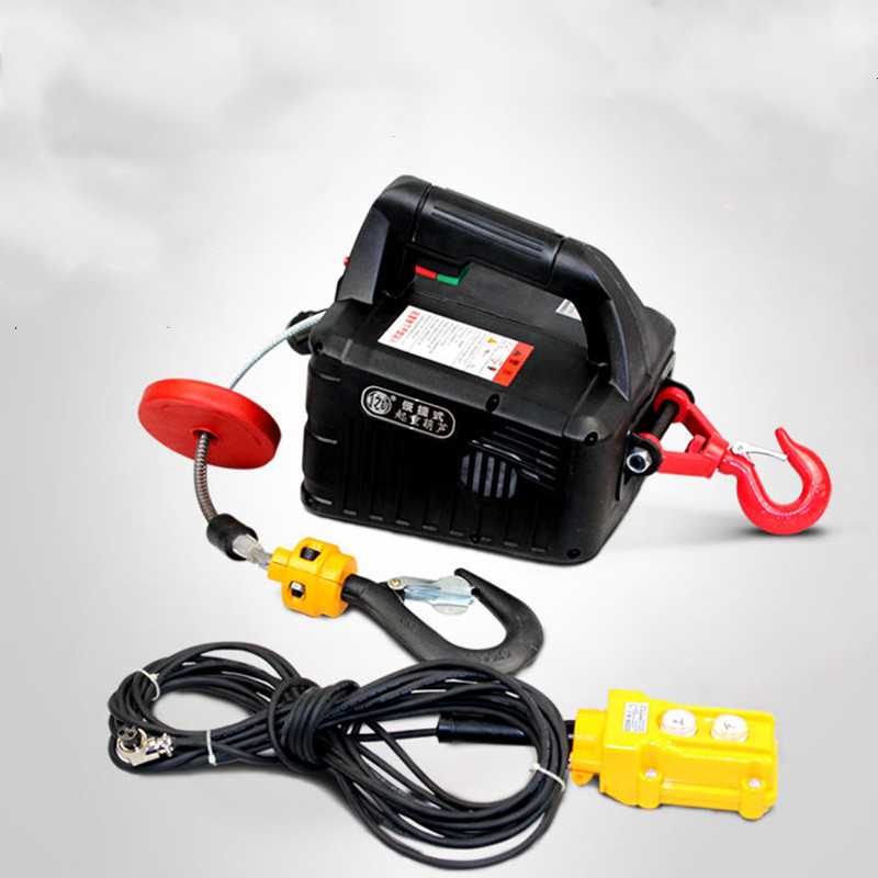 500KG 7.6M Portable Electric Winch Hand Winch Traction Block Electric Steel Wire Rope Lifting Hoist Towing Rope