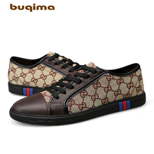 Buqima high quality leather casual shoes mens ladies sports flat canvas luxury gentleman