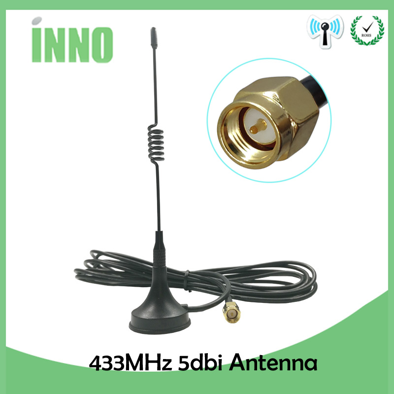 Antenna 433Mhz,3dbi RP SMA Plug Male straight with Magnetic base for Ham radio