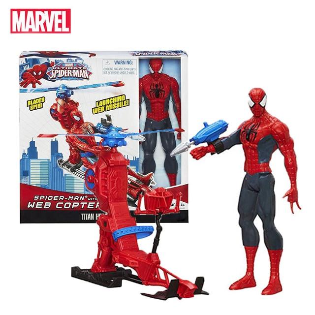 Marvel Legends 30cm Spiderman zestaw zabawek Titan Hero Series Copter figurka 11.8 cali prezenty na nowy rok zabawki dla chłopców