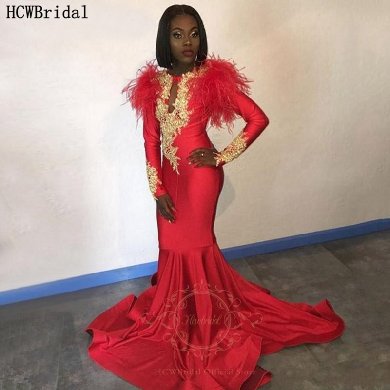 Red Mermaid African Black Girl Evening Dress Long Sleeves Gold Lace Feathers Special Prom Gowns Formal Wedding Party Dresses