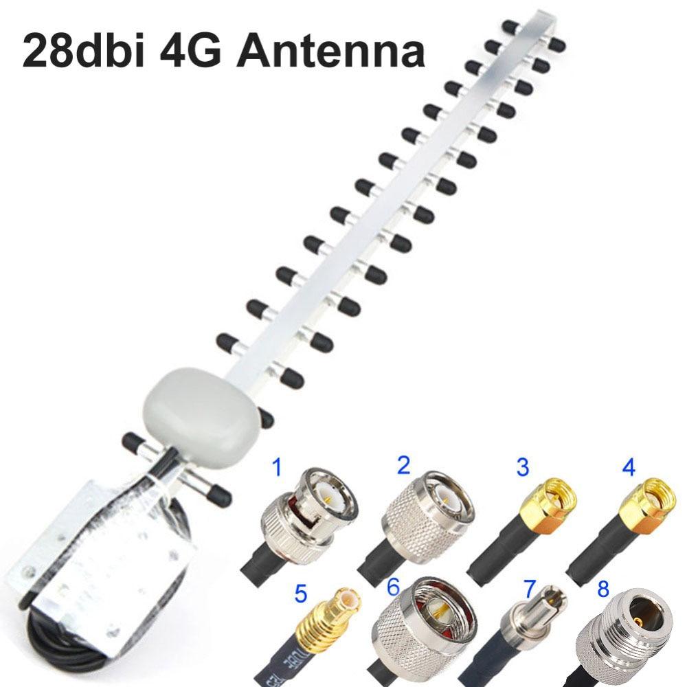 4G Antenna Yagi Antenna 28dbi 4G LTE SMA Male BNC TNC RP SMA Male Outdoor Directional Booster Amplifier Modem RG58 1.5m