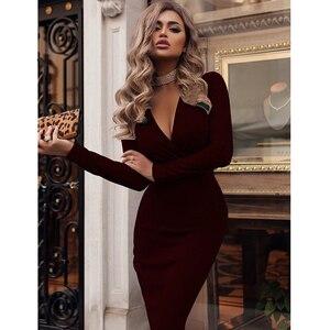 Image 5 - נשים שמלת סתיו חורף מקרית מוצק צבע ארוך שרוול אלגנטי משרד ליידי שמלה סקסי עמוק V צוואר Bodycon עיפרון המפלגה שמלות