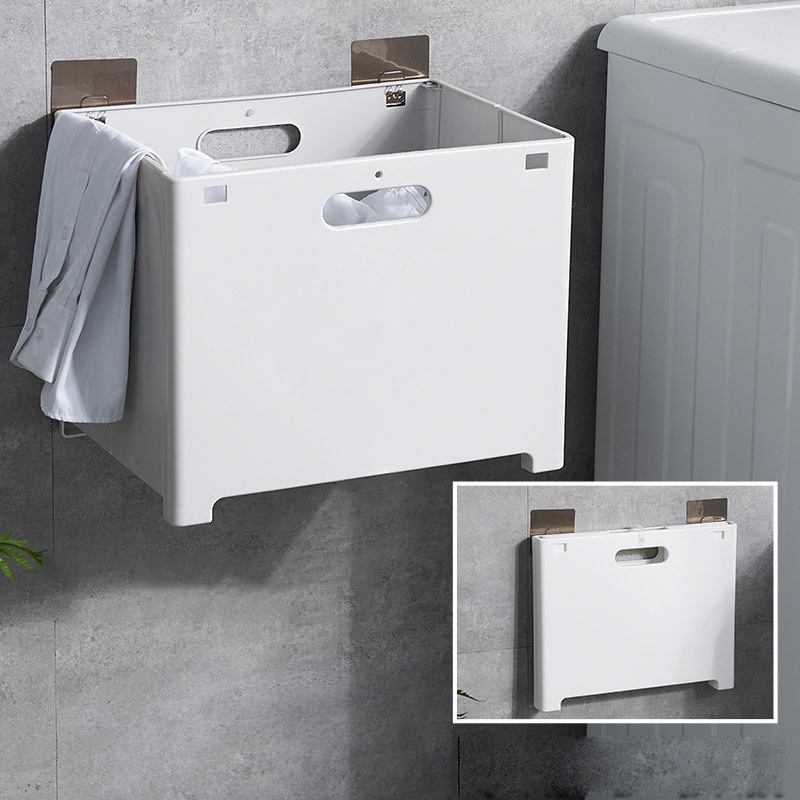 Wall Mounted Laundry Basket Folding Plastic Dirty Clothes Storage Basket Sundries Storage Box For Clothes Toy Organizer Hanging