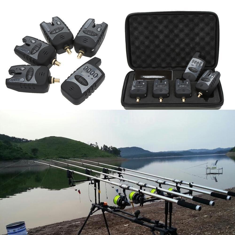 Fishing Alerts Bite Alarm Set Wireless Fishing Alarm 4  1 LED Carp Kit Fishing Digital Swinger Indicator Fishing Tackle|Fishing Tackle Boxes| |  - title=