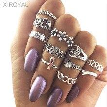 X-ROYAL 11Pcs/set Hollow Craving Sun Moon Star Flower Shape Geometric Female Rings Fashion Women Finger Knuckle Vintage Rings недорого