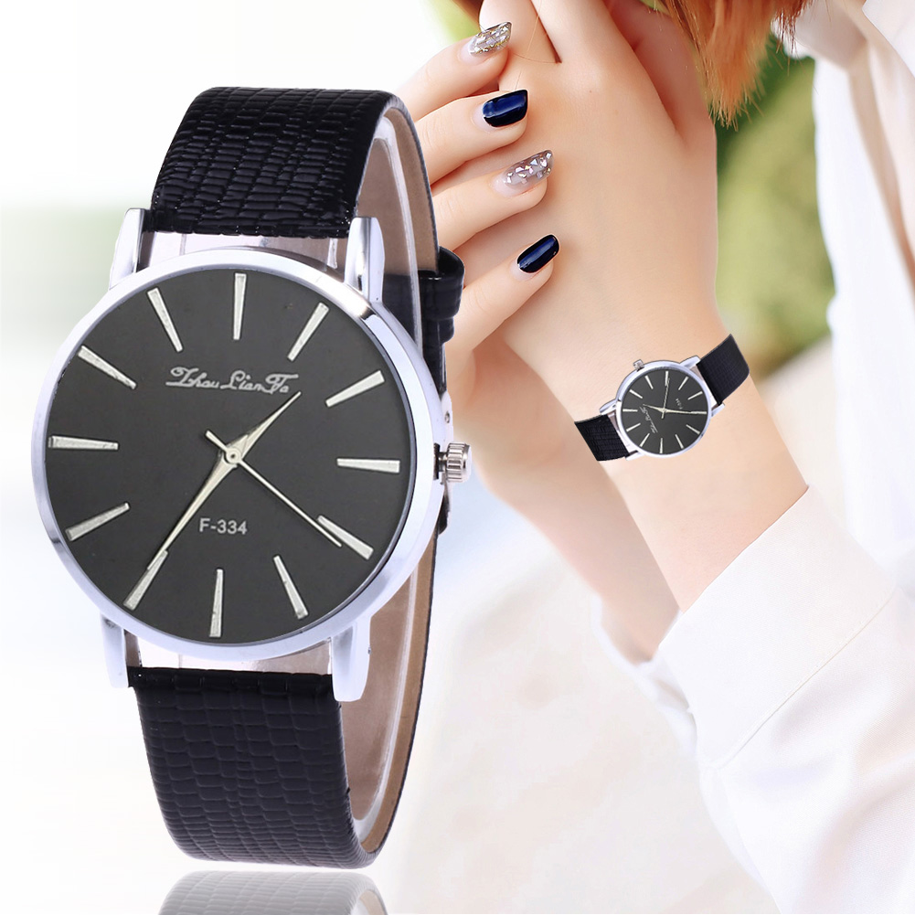 Elegant Men Business Watch Round Dial Quartz Watch with Faux Leather Band Couple Watches TY66