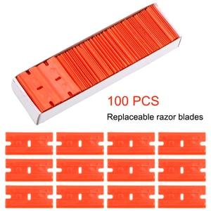 Image 5 - Window Glass Clean Scraper 100pcs Double Edged Plastic Razor Blade Car Wrap Sticker Squeegee Lable Clean Razor Glue Remover