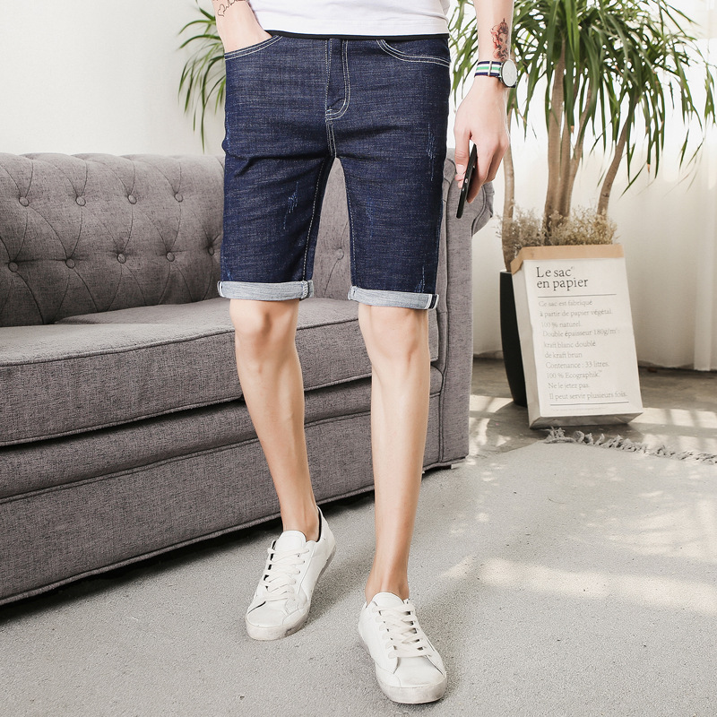 2019 Summer Men's Thin Denim Shorts Korean-style Slim Fit Elasticity Shorts Men Short Jeans