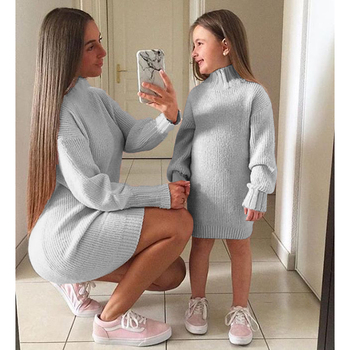 2020 New Baby Girl Clothes Mom Winter Clothes Solid Knitted Sweater Dress Baby Girls Sweaters Toddler Sweater Kids Sweaters Pink boys sweaters high quality baby trui baby girls sweater autumn winter baby warm clothes kids sweater