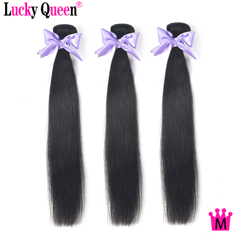 Lucky Queen Peruvian Straight Hair 3 Bundles Deal 100% Human Hair Extensions Non-Remy Hair Medium Ratio Weave Bundles