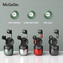 McGeSin-auriculares inalámbricos con Bluetooth 5,0, dispositivos deportivos de música HIFI con pantalla LED y micrófono, llamada HD, novedad de 2021