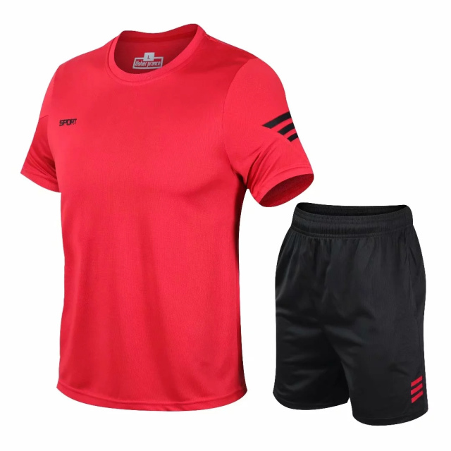 Fashion Sportswear 2020 Men Red Clothing Sportswear Set Fitness Summer Print Men Shorts + T Shirt Men's Suit 2 Pieces Sets